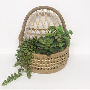 Vintage Hanging Wall Basket Display Shelf Planter